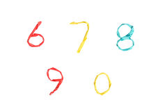 Colourful paper number on white background (6 7 8 9 0). Wire wrapped by colourful paper to number on white background with decoration (6 7 8 9 0 Royalty Free Stock Photography