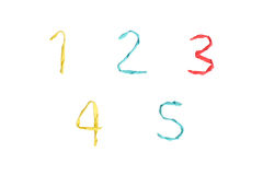 Colourful paper number on white background (1 2 3 4 5). Wire wrapped by colourful paper to number on white background with decoration (1 2 3 4 5 Stock Photo