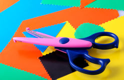 Colourful paper and scissors stock images