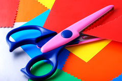 Colourful paper and scissors Royalty Free Stock Image