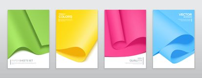 Colourful paper sheets, brochure templates. Vector set banners, minimal design Royalty Free Stock Image