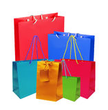 Colourful paper shopping bags and box isolated on white royalty free stock images