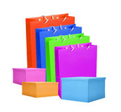 Colourful paper shopping bags and box isolated on white royalty free stock photography