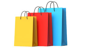 Colourful paper shopping bags, 3d illustration. 3D render, isolated on white background Stock Images