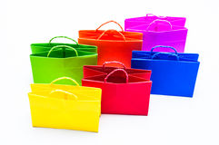 Colourful paper shopping bags. Isolated on white Royalty Free Stock Images