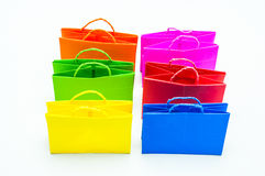 Colourful paper shopping bags. Isolated on white Royalty Free Stock Image