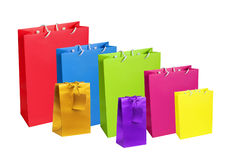 Colourful paper shopping bags isolated on white royalty free stock photos