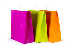 Colourful paper shopping bags isolated on white Royalty Free Stock Photography