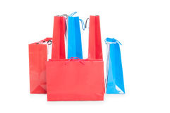 Colourful paper shopping bags after a shopping session stock photos