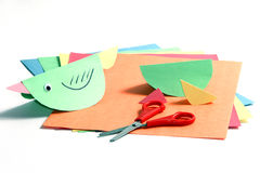 Colourful Papers, Scissors And A Paper Bird Royalty Free Stock Photos