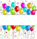 Colourful party balloons, confetti with space for  Stock Photos