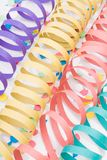 Colourful party paper ribbons and confetti Stock Image