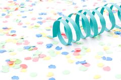 Colourful party paper ribbons and confetti. Several colourful party paper ribbons and confetti royalty free stock photos