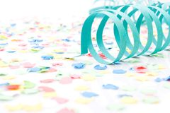 Colourful party paper ribbons and confetti. Several colourful party paper ribbons and confetti royalty free stock image