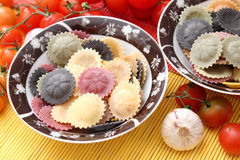 Colourful pasta. Some italian colourful pasta in a bowl royalty free stock image