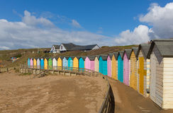 Colourful pastel beach huts on the beach Bude North Cornwall England uk Royalty Free Stock Photography
