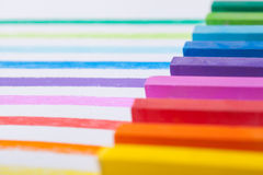 Colourful pastels closeup. A close up of colourful rainbow pastels Royalty Free Stock Photos