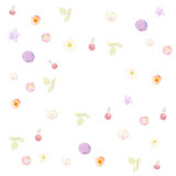 Colourful pattern of flowers, leaves and cherries painted Royalty Free Stock Image