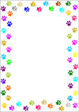 Colourful paw prints border. Stock Photos