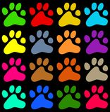 Colourful paws. Colourful decorative animal paw print background wallpaper pattern Stock Images