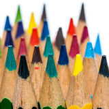 Colourful Peaks. A close-up shot of a collection of coloured pencils royalty free stock photos