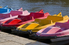 Colourful pedal boats. Stock Photos