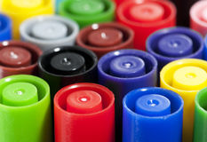 Colourful Pen Tops Royalty Free Stock Photography