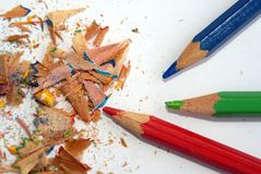 Colourful Pencil. Photo of pencil and shavings Stock Photo