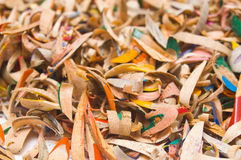 Colourful Pencil Shavings. Pile of multicoloured pencil shavings Stock Photography