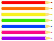 Colourful pencils. Vector of 7 pencils in various colours Royalty Free Illustration