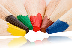 Colourful pencils. Colorful pencil-heads getting together (isolated on white - path included Royalty Free Stock Image