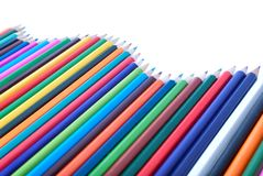 Colourful pencils in shape of wave royalty free stock photo