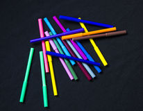 Colourful Pens. On Black Background Stock Photos