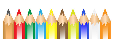 Colourful pens in a row royalty free stock photography
