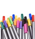 Colourful pens on a white background Royalty Free Stock Photography