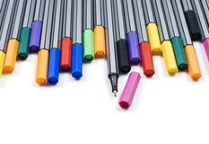 Colourful pens on a white background Stock Photo