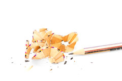 Colourful pensil and shavings on white background Stock Image