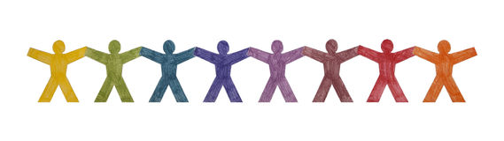 Colourful people standing in a row Stock Images