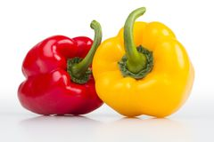 Colourful peppers white background. Colourful fresh isolated peppers on white background Stock Image