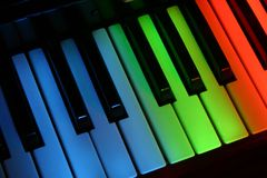 Colourful piano. Multi coloured piano keys using light painting royalty free stock images