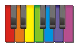 Colourful piano keys. Royalty Free Stock Image