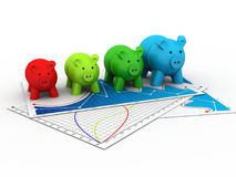 Colourful Piggy bank in a row Stock Image
