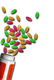 Colourful Pills. Concept image of multicoloured spread of pills fallen from container, white background Stock Images