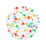 Colourful pills in circle shape isolated on white Royalty Free Stock Photo