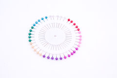 Colourful pins in a shape of circle Royalty Free Stock Photo