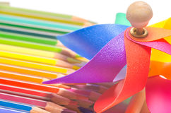 Colourful pinwheel with coloured pencils Royalty Free Stock Images