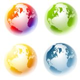 Colourful Planet Earth Globes. A clip art illustration featuring a selection of 4 colourful planet earth globes Royalty Free Stock Photography