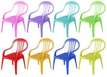 Colourful plastic chairs Royalty Free Stock Images