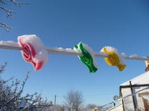 Colourful plastic clothes pegs caked in snow Royalty Free Stock Photos
