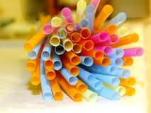 Colourful Straws. Colourful Plastic Drinking Straws Close-up stock photography
